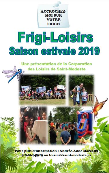 Frigi-loisirs estival 2019 couverture (Auteur : Andrée-Anne Marcoux)