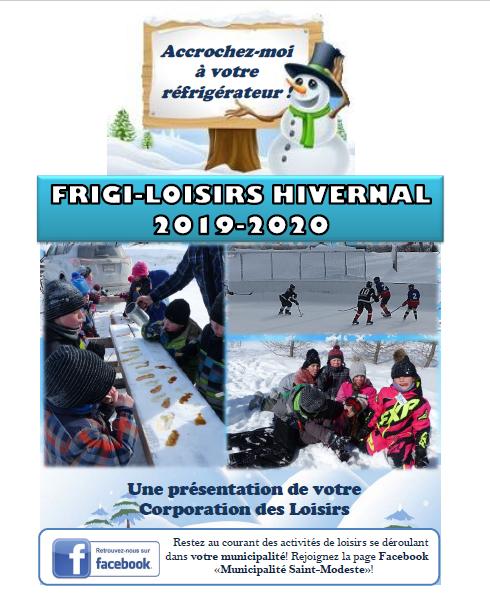 Frigi-loisirs hivernal 2019-2020 couverture (Auteur : Andrée-Anne Marcoux)