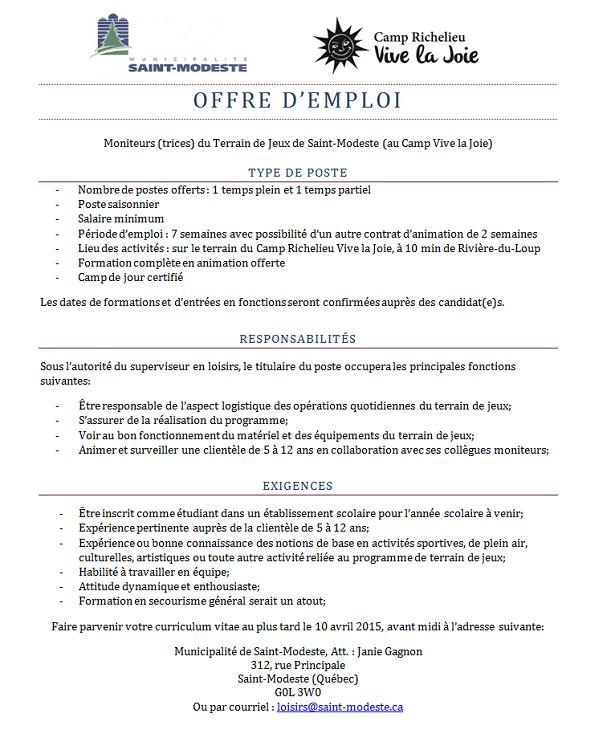 offre emploi 2015 (Auteur : Janie)